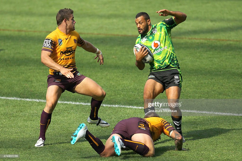 Jayson Bukuya of the New Zealand Warriors makes a break during the NRL trial match between the Brisbane Broncos and the New Zealand Warriors at Forsyth Barr Stadium on February 23, 2014 in Dunedin, New Zealand.