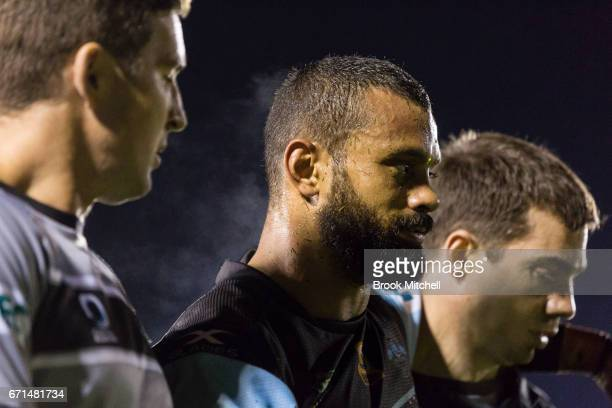 Jayson Bukuya of the Sharks leaves the field due to injury during the round eight NRL match between the Cronulla Sharks and the Gold Coast Titans at...