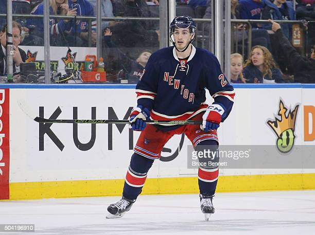 Jayson Megna of the New York Rangers skates against the Washington Capitals at Madison Square Garden on January 9 2016 in New York City The Capitals...