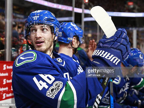 Jayson Megna of the Vancouver Canucks wears the new NHL 100 year celebration patch on his jersey during their game against the Colorado Avalanche at...