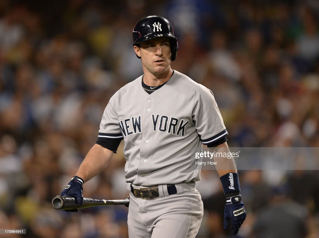 <a gi-track='captionPersonalityLinkClicked' href=/galleries/search?phrase=Jayson+Nix&family=editorial&specificpeople=836132 ng-click='$event.stopPropagation()'>Jayson Nix</a> #17 of the New York Yankees reacts to his strikeout during the seventh inning against the Los Angeles Dodgers at Dodger Stadium on July 30, 2013 in Los Angeles, California.