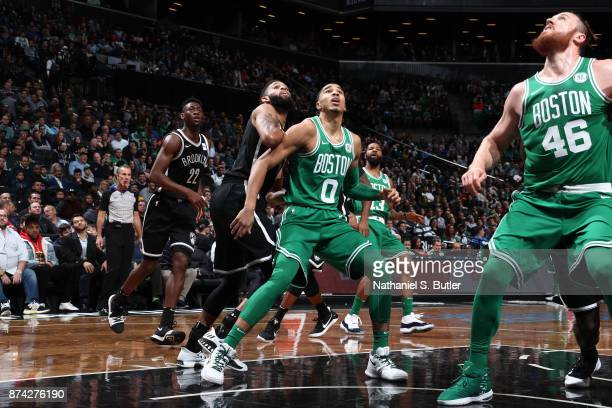 Jayson Tatum of the Boston Celtics boxes out against the Brooklyn Nets on November 14 2017 at Barclays Center in Brooklyn New York NOTE TO USER User...
