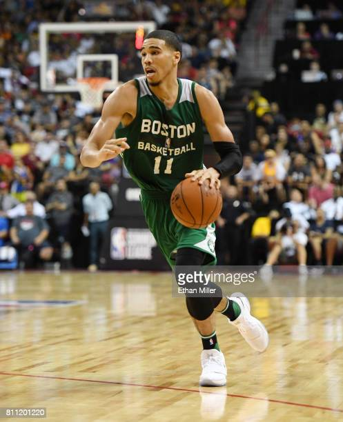 Jayson Tatum of the Boston Celtics brings the ball up the court against the Los Angeles Lakers during the 2017 Summer League at the Thomas Mack...