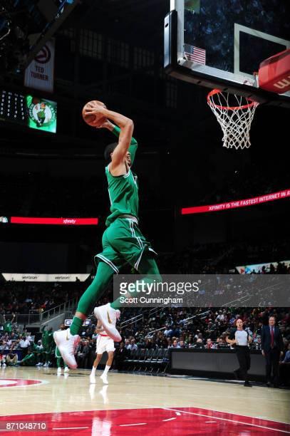 Jayson Tatum of the Boston Celtics dunks against the Atlanta Hawks on November 6 2017 at Philips Arena in Atlanta Georgia NOTE TO USER User expressly...