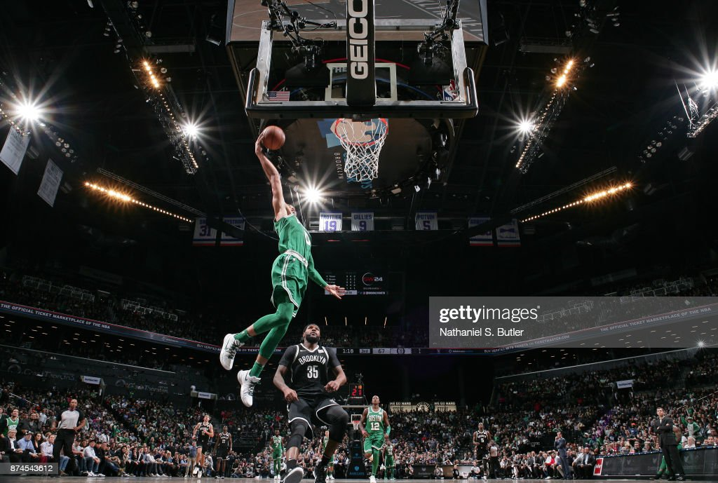 Jayson Tatum #0 of the Boston Celtics dunks the ball against the Brooklyn Nets on November 14, 2017 at Barclays Center in Brooklyn, New York.
