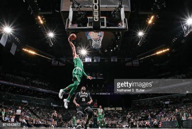 Jayson Tatum of the Boston Celtics dunks the ball against the Brooklyn Nets on November 14 2017 at Barclays Center in Brooklyn New York NOTE TO USER...