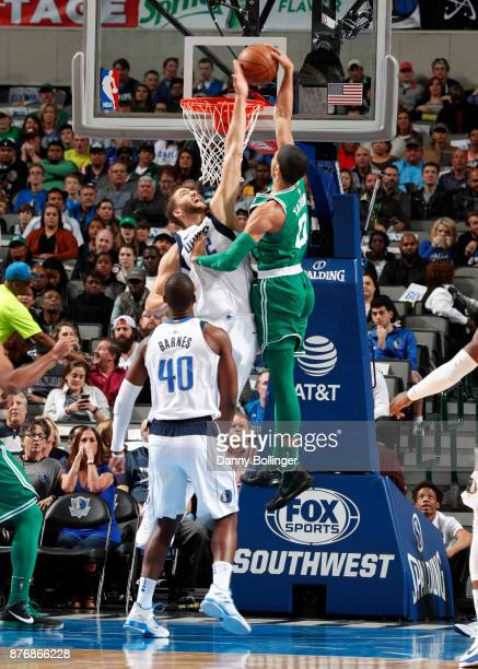 Jayson Tatum of the Boston Celtics dunks the ball during the game against the Dallas Mavericks on November 20 2017 at the American Airlines Center in...