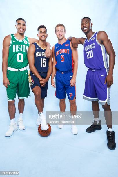 Jayson Tatum of the Boston Celtics Frank Jackson of the New Orleans Pelicans Luke Kennard of the Detroit Pistons and Harry Giles of the Sacramento...