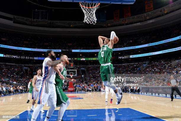 Jayson Tatum of the Boston Celtics goes for a dunk during the game against the Philadelphia 76ers during a preseason on October 6 2017 at Wells Fargo...