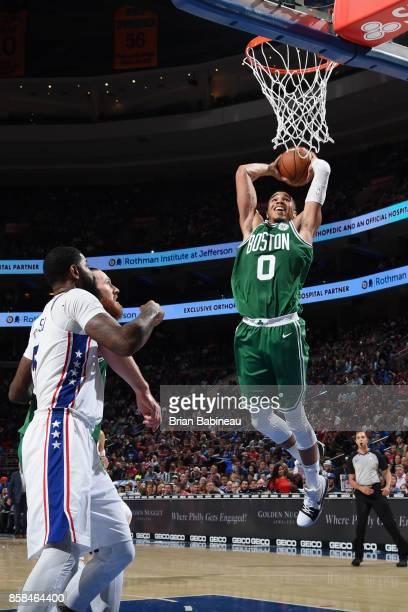 Jayson Tatum of the Boston Celtics goes to the basket against the Philadelphia 76ers on October 6 2017 in Philadelphia Pennsylvania at the Wells...