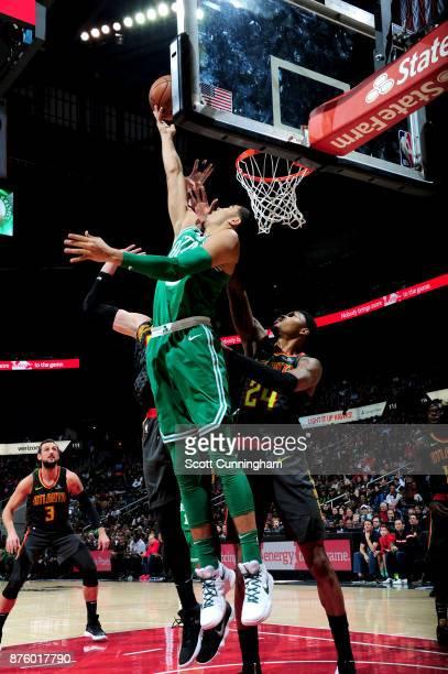 Jayson Tatum of the Boston Celtics goes to the basket against the Atlanta Hawks on November 18 2017 at Philips Arena in Atlanta Georgia NOTE TO USER...