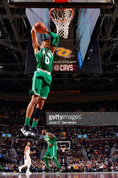 Jayson Tatum of the Boston Celtics grabs the rebound against the Cleveland Cavaliers on October 17 2017 at Quicken Loans Arena in Cleveland Ohio NOTE...