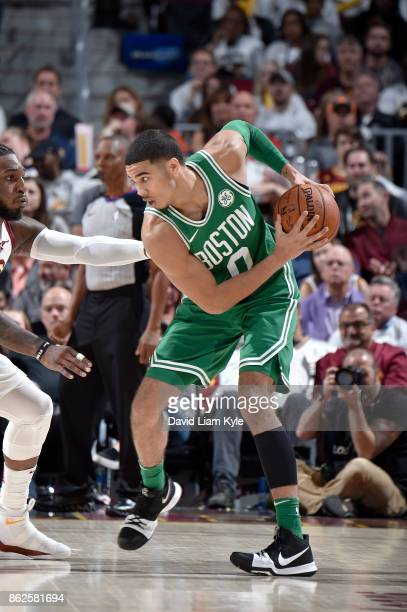 Jayson Tatum of the Boston Celtics handles the ball against the Cleveland Cavaliers on October 17 2017 at Quicken Loans Arena in Cleveland Ohio NOTE...