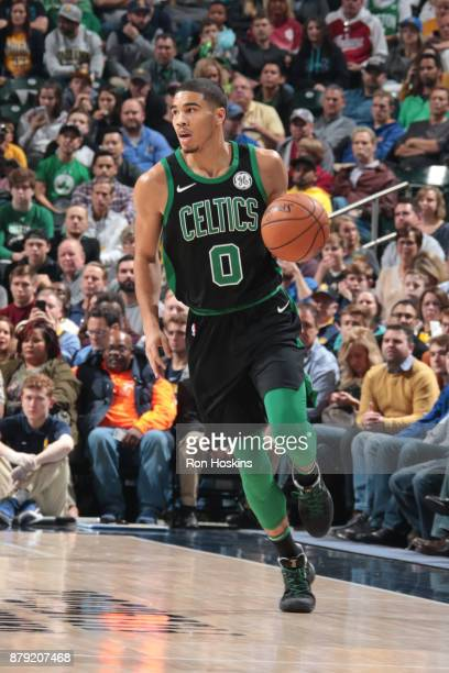 Jayson Tatum of the Boston Celtics handles the ball against the Indiana Pacers on November 25 2017 at Bankers Life Fieldhouse in Indianapolis Indiana...