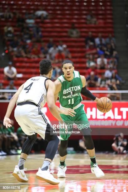 Jayson Tatum of the Boston Celtics handles the ball against the San Antonio Spurs on July 5 2017 at Jon M Huntsman Center in Salt Lake City Utah NOTE...