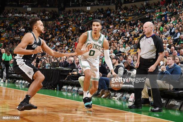 Jayson Tatum of the Boston Celtics handles the ball against the San Antonio Spurs on October 30 2017 at the TD Garden in Boston Massachusetts NOTE TO...