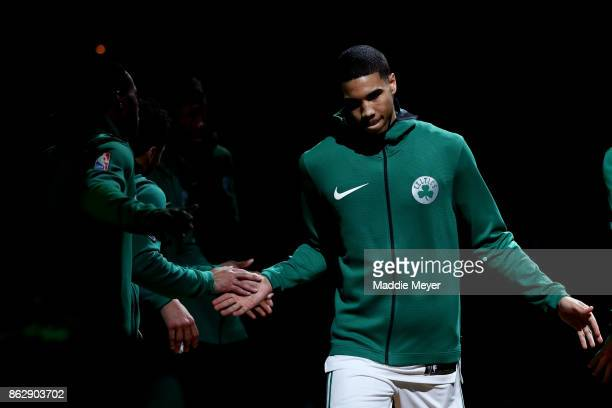 Jayson Tatum of the Boston Celtics is announced before the game against the Milwaukee Bucks at TD Garden on October 18 2017 in Boston Massachusetts...