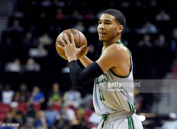 Jayson Tatum of the Boston Celtics looks to pass against the Portland Trail Blazers during the 2017 Summer League at the Thomas Mack Center on July 9...