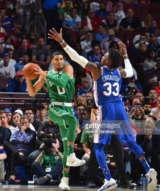 Jayson Tatum of the Boston Celtics passes the ball against the Philadelphia 76ers during the game on October 20 2017 at Wells Fargo Center in...
