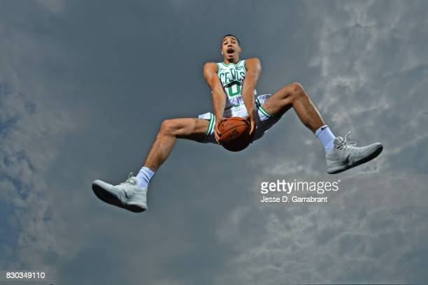 Jayson Tatum of the Boston Celtics poses for a portrait during the 2017 NBA rookie photo shoot on August 11 2017 at the Madison Square Garden...