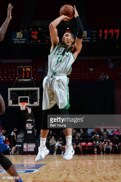 Jayson Tatum of the Boston Celtics shoots the ball against the Philadelphia 76ers on July 11 2017 at the Thomas Mack Center in Las Vegas Nevada NOTE...