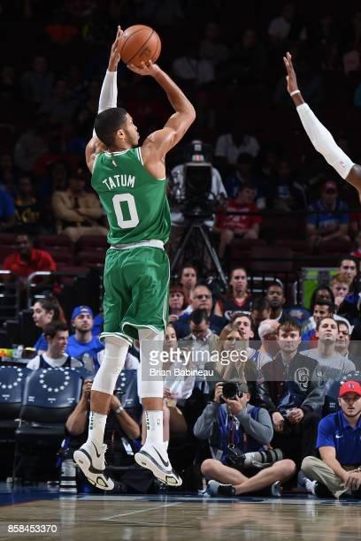 Jayson Tatum of the Boston Celtics shoots the ball against the Philadelphia 76ers on October 6 2017 in Philadelphia Pennsylvania at the Wells Fargo...