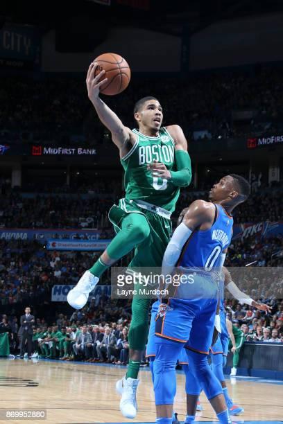 Jayson Tatum of the Boston Celtics shoots the ball against the Oklahoma City Thunder on November 3 2017 at Chesapeake Energy Arena in Oklahoma City...