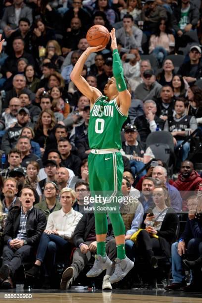 Jayson Tatum of the Boston Celtics shoots the ball against the San Antonio Spurs on December 8 2017 at the ATT Center in San Antonio Texas NOTE TO...
