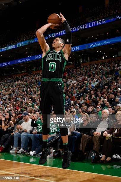Jayson Tatum of the Boston Celtics shoots the ball during the game against the Orlando Magic on November 24 2017 at the TD Garden in Boston...