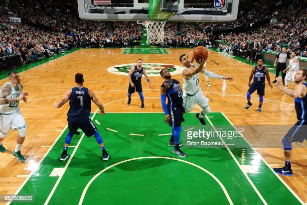 Jayson Tatum of the Boston Celtics shoots the ball during the game against the Dallas Mavericks on December 6 2017 at the TD Garden in Boston...