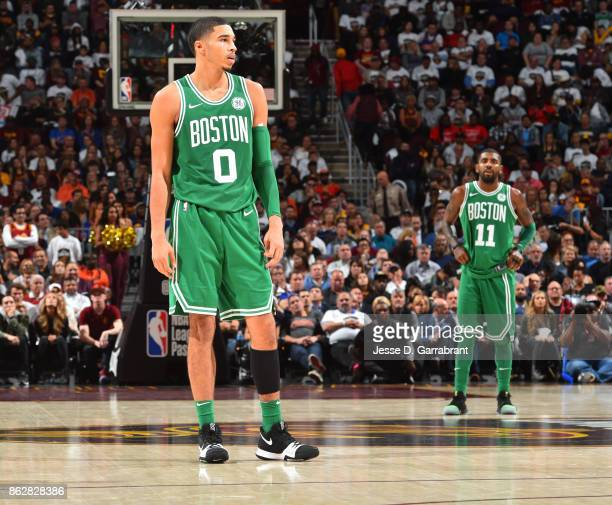 Jayson Tatum of the Boston Celtics stands on the court against the Cleveland Cavaliers on October 17 2017 at Quicken Loans Arena in Cleveland Ohio...