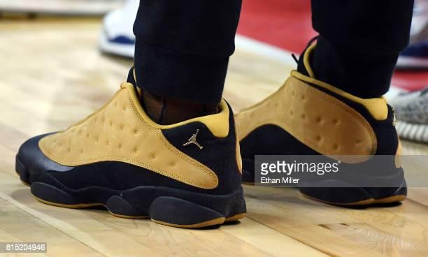 Jayson Tatum of the Boston Celtics wears Nike sneakers during the team's 2017 Summer League game against the Dallas Mavericks at the Thomas Mack...