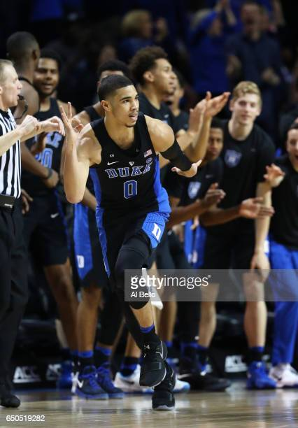 Jayson Tatum of the Duke Blue Devils celebrates making a basket against the Louisville Cardinals during the Quarterfinals of the ACC Basketball...