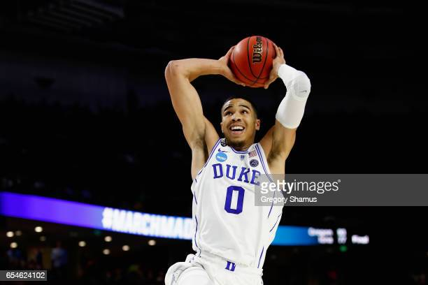 Jayson Tatum of the Duke Blue Devils dunks against the Troy Trojans in the first half during the first round of the 2017 NCAA Men's Basketball...