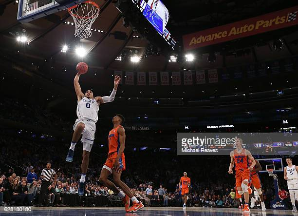 Jayson Tatum of the Duke Blue Devils goes up for a dunk against the Florida Gators in the second half during the Jimmy V Classic at Madison Square...