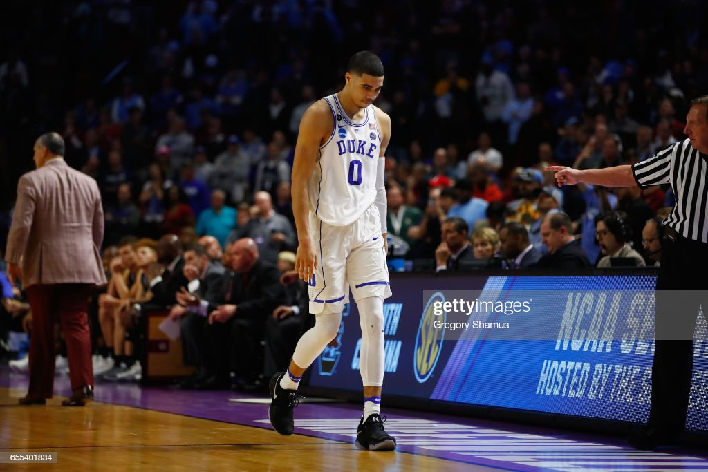 Jayson Tatum #0 of the Duke Blue Devils reacts after being defeated by the South Carolina Gamecocks 88-81 in the second round of the 2017 NCAA Men's Basketball Tournament at Bon Secours Wellness Arena on March 19, 2017 in Greenville, South Carolina.
