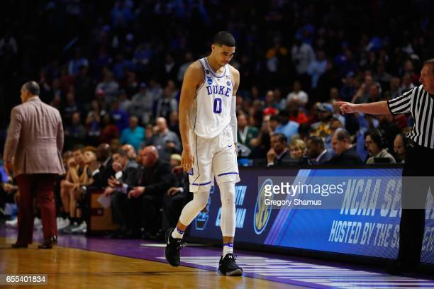 Jayson Tatum of the Duke Blue Devils reacts after being defeated by the South Carolina Gamecocks 8881 in the second round of the 2017 NCAA Men's...