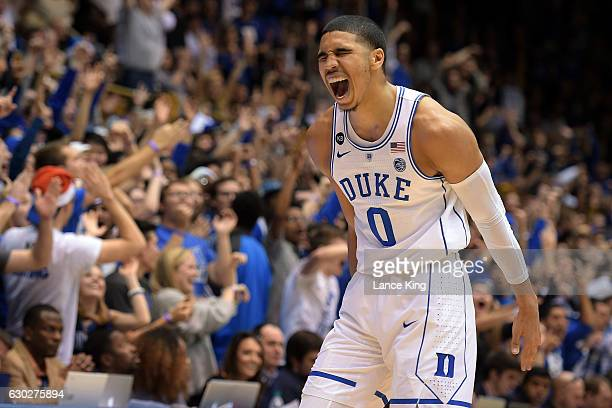 Jayson Tatum of the Duke Blue Devils reacts during their game against the Tennessee State Tigers at Cameron Indoor Stadium on December 19 2016 in...