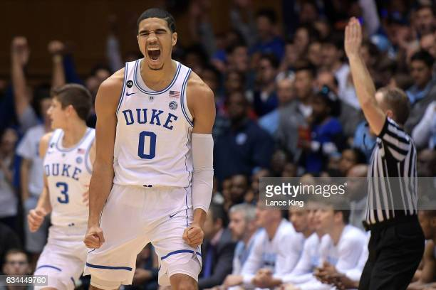Jayson Tatum reacts following a threepoint basket by Grayson Allen of the Duke Blue Devils during their game against the North Carolina Tar Heels at...