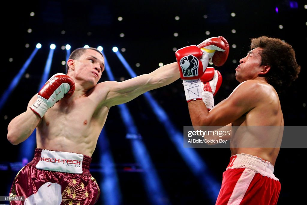 Jayson Velez (L) connects on a punch against Salvador Sanchez II during their WBC Silver Featherweight title bout at Madison Square Garden on December 1, 2012 in New York City.