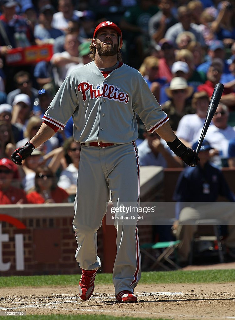 Jayson Werth #28 of the Philadelphia Phillies reacts after striking out against Ted Lilly of the Chicago Cubs at Wrigley Field on July 16, 2010 in Chicago, Illinois. The Cubs defeated the Phillies 4-3.