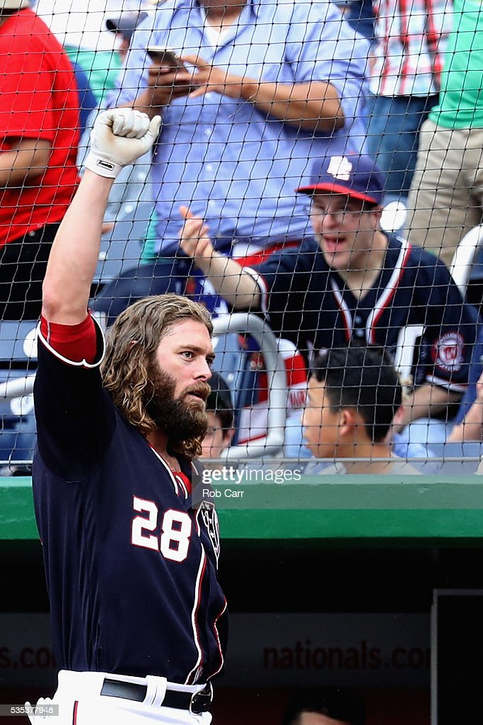 <a gi-track='captionPersonalityLinkClicked' href=/galleries/search?phrase=Jayson+Werth&family=editorial&specificpeople=206490 ng-click='$event.stopPropagation()'>Jayson Werth</a> #28 of the Washington Nationals acknowledges the crowd after hitting a seventh inning grand slam against the St. Louis Cardinals at Nationals Park on May 29, 2016 in Washington, DC.