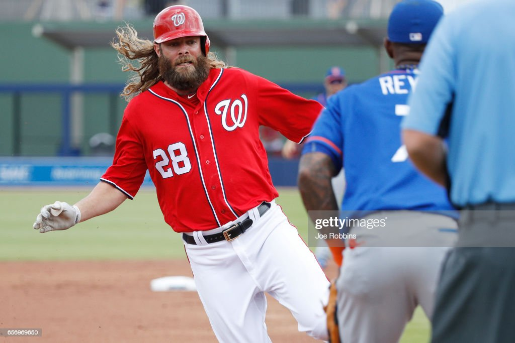 Jayson Werth #28 of the Washington Nationals advances to third base on a hit by Bryce Harper in the first inning of a Grapefruit League spring training game against the New York Mets at The Ballpark of the Palm Beaches on March 23, 2017 in West Palm Beach, Florida.