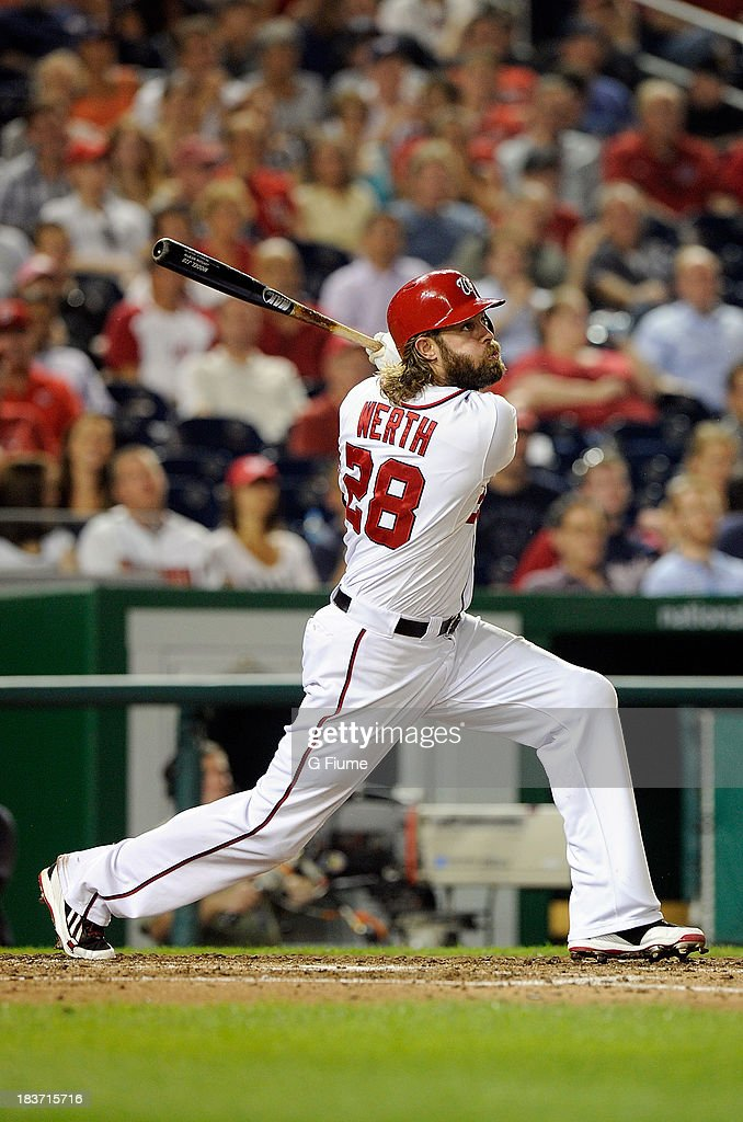 <a gi-track='captionPersonalityLinkClicked' href=/galleries/search?phrase=Jayson+Werth&family=editorial&specificpeople=206490 ng-click='$event.stopPropagation()'>Jayson Werth</a> #28 of the Washington Nationals bats against the Miami Marlins at Nationals Park on August 27, 2013 in Washington, DC.