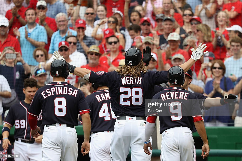 <a gi-track='captionPersonalityLinkClicked' href=/galleries/search?phrase=Jayson+Werth&family=editorial&specificpeople=206490 ng-click='$event.stopPropagation()'>Jayson Werth</a> #28 of the Washington Nationals celebrates after hitting a seventh inning grand slam against the St. Louis Cardinals at Nationals Park on May 29, 2016 in Washington, DC.