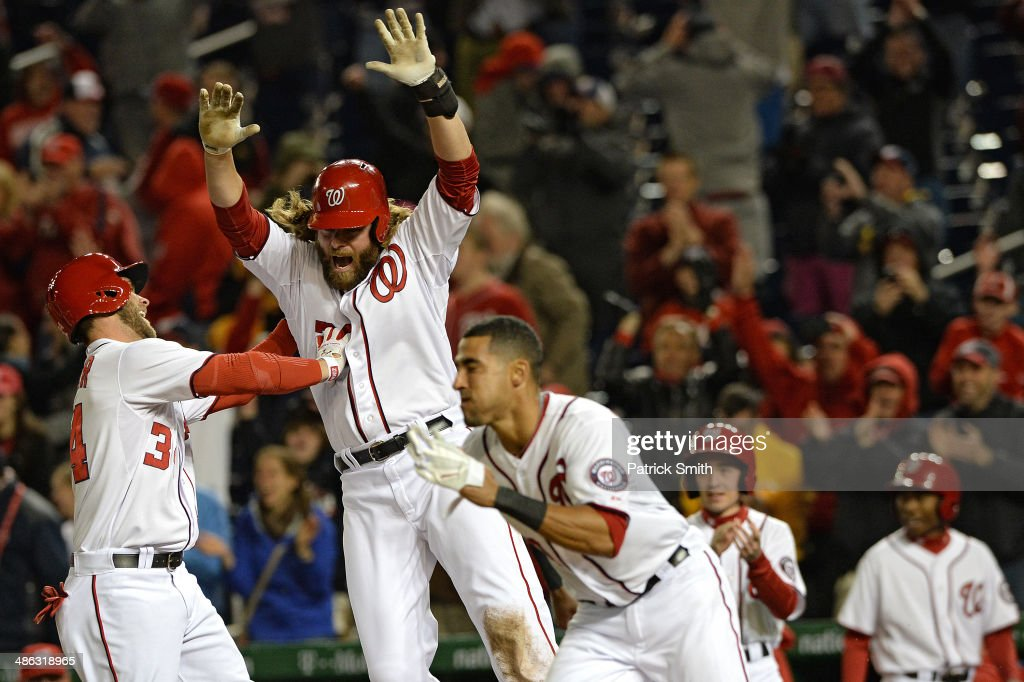 Jayson Werth #28 of the Washington Nationals celebrates after scoring the game-winning run off of a Adam LaRoche #25 of the Washington Nationals (not pictured) RBI single against the Los Angeles Angels of Anaheim in the ninth inning at Nationals Park on April 23, 2014 in Washington, DC. The Washington Nationals won, 5-4.