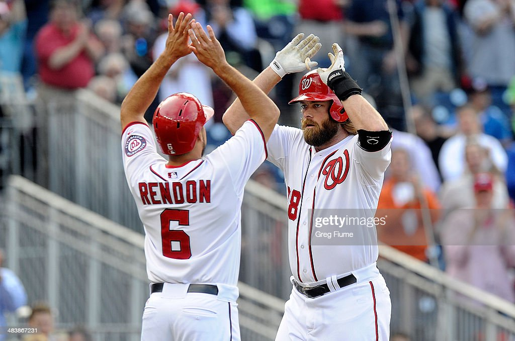 <a gi-track='captionPersonalityLinkClicked' href=/galleries/search?phrase=Jayson+Werth&family=editorial&specificpeople=206490 ng-click='$event.stopPropagation()'>Jayson Werth</a> #28 of the Washington Nationals celebrates with <a gi-track='captionPersonalityLinkClicked' href=/galleries/search?phrase=Anthony+Rendon&family=editorial&specificpeople=7539238 ng-click='$event.stopPropagation()'>Anthony Rendon</a> #6 after hitting a home run in the third inning against the Miami Marlins at Nationals Park on April 10, 2014 in Washington, DC.