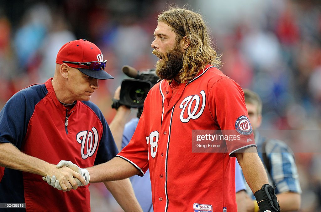 <a gi-track='captionPersonalityLinkClicked' href=/galleries/search?phrase=Jayson+Werth&family=editorial&specificpeople=206490 ng-click='$event.stopPropagation()'>Jayson Werth</a> #28 of the Washington Nationals celebrates with manager Matt Williams #9 after driving in the game winning run in the ninth inning against the Milwaukee Brewers at Nationals Park on July 20, 2014 in Washington, DC. Washington won the game 5-4.