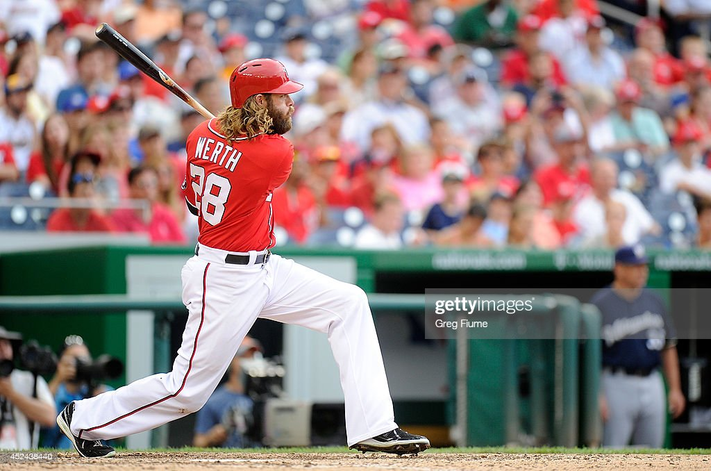 <a gi-track='captionPersonalityLinkClicked' href=/galleries/search?phrase=Jayson+Werth&family=editorial&specificpeople=206490 ng-click='$event.stopPropagation()'>Jayson Werth</a> #28 of the Washington Nationals drives in the game winning run with a double in the ninth inning against the Milwaukee Brewers at Nationals Park on July 20, 2014 in Washington, DC. Washington won the game 5-4.