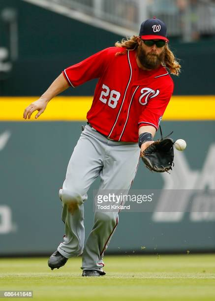 Jayson Werth of the Washington Nationals fields a ball in the eight inning of an MLB game against the Atlanta Braves at SunTrust Park on May 21 2017...